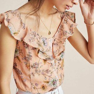 Anthropologie Wildflower Floral Cropped Top Size S